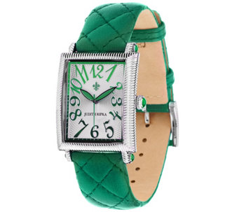 Judith Ripka Stainless Steel Quilted Leather Tank Watch - J318511