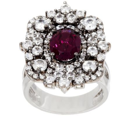 Graziela Gems Gemstone & White Zircon Sterling Ring