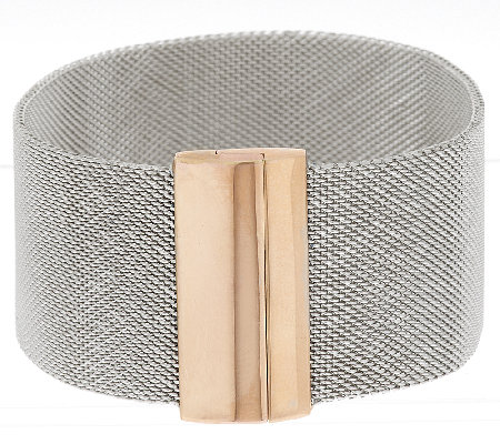 """As Is"" Bronzo Italia Two-tone Stainless Steel Mesh Bracelet With Magnet"