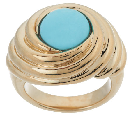 14K Gold Sleeping Beauty Turquoise Polished Swirl Ring