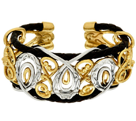Carolyn Pollack Sterling &Brass Braided Leather Scroll Design Bold Cuff