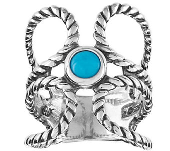 Turquoise Rope Design Sterling Ring by American West - J320511