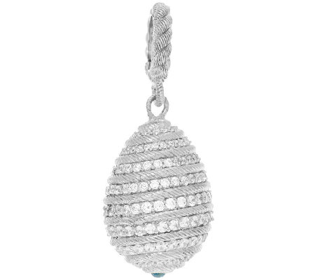 Judith Ripka Sterling Diamonique 1.65 cttw Egg Charm