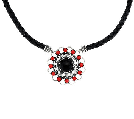 Coral & Onyx Sterling Silver Leather Necklace by American West
