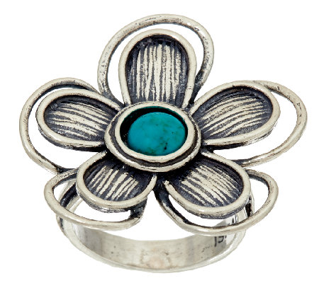Sterling Silver Turquoise Flower Ring by Or Paz