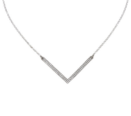VicenzaSilver Sterling Diamonique Chevron Necklace
