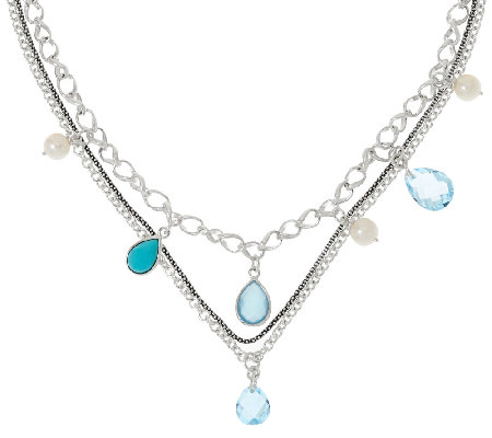 Michael Dawkins Sterling 11.00 cttw Blue Topaz Triple Chain Necklace