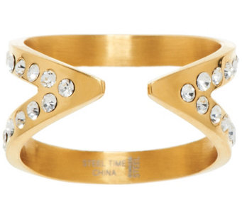Stainless Steel Crystal Open X Ring - J323811