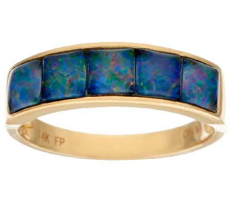 Australian Opal Triplet Channel Set Band Ring 14K Gold