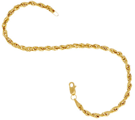 "14K Gold 6-3/4"" Diamond Cut Rope Chain Bracelet"