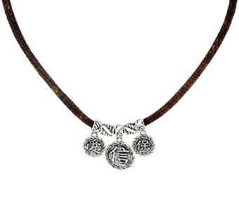 JAI Sterling & Leather Hill Tribe Coin Necklace - J327711