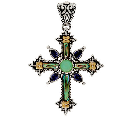 Barbara Bixby Sterling & 18K Abalone & Gemstone Cross Enhancer