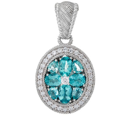 Judith Ripka Sterling Silver 2.0 ct Apatite & Diamonique Estate Enhancer
