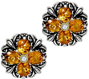 Barbara Bixby Sterling & 18K Gemstone Flower Button Earrings - J329111