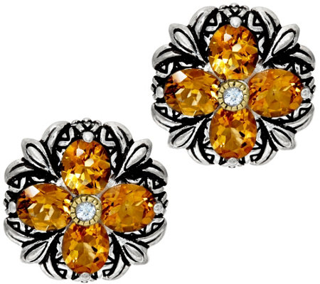 Barbara Bixby Sterling & 18K Gemstone Flower Button Earrings