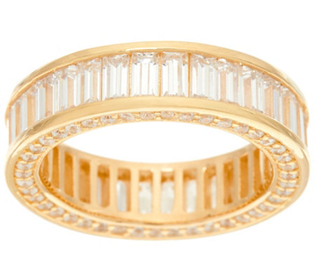 Diamonique Baguette Cut Eternity Band Ring, Sterling or 14K Clad