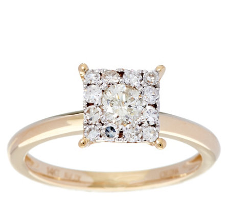 Princess Cluster Design Diamond Ring, 14K, 1/2 cttw, by Affinity