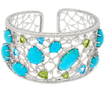 Judith Ripka Sterling 5.00 cttw Gemstone & Turquoise Cuff - J329611