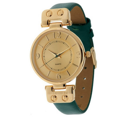 """As Is"" Gossip Hinged Goldtone Leather Strap Watch"