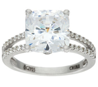 Diamonique 5ct Split Shank Solitaire Ring, Platinum Clad - J330011