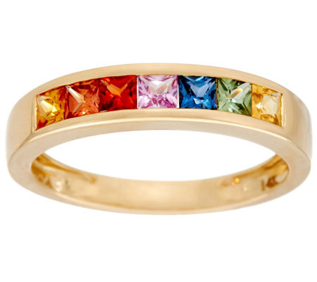 Princess Cut Colors of Sapphire Band Ring, 14K Gold 0.85 cttw