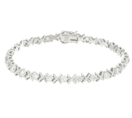 Diamonique XO Tennis Bracelet, Sterling or 14K Clad