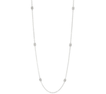 "Judith Ripka Sterling or 14K Clad 36"" Cherry Station Necklace"