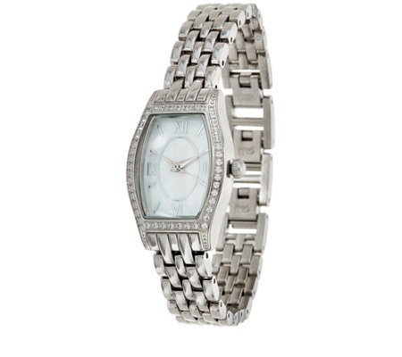 Diamonique Tortue Style Watch with Bracelet Strap