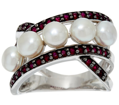 """As Is"" Honora Cultured Pearl 5.0mm & .50cttw Gemstone Sterling Ring"