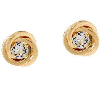 14K Gold Polished Love Knot Stud Earrings with Crystals - J333611