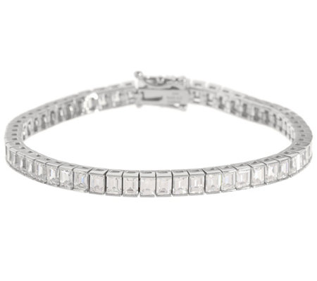 Diamonique Baguette Channel Set Bracelet, Sterl or 14K Clad