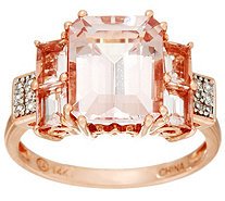 Emerald Cut Morganite & Pave' Diamond Ring, 14K Gold 3.35 cttw - J335711