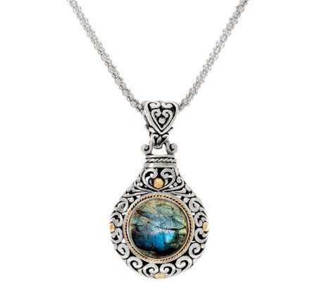 Artisan Crafted Sterling & 18K Gold Gemstone Pendant with Chain