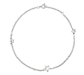 Stainless Steel Polished Star Station Ankle Bracelet - J336311