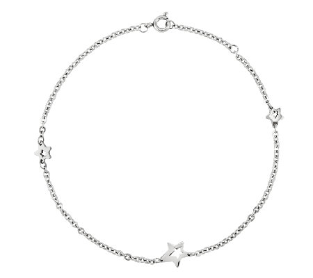 Stainless Steel Polished Star Station Ankle Bracelet