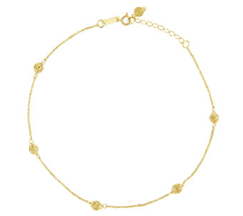 "10"" Filagree Bead Station Ankle Bracelet, 14K Gold - J336411"
