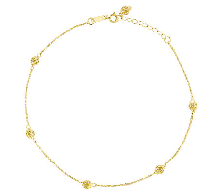 "10"" Filagree Bead Station Ankle Bracelet, 14K Gold"