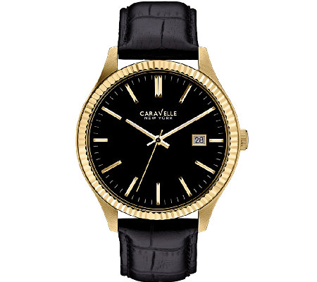 Caravelle New York Men's Black Leather Band Watch
