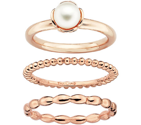 Simply Stacks Sterling & 14K Rose Plated Pearl3 Ring Set