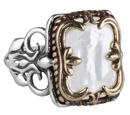 Carolyn Pollack Sterling & Brass Mother-of-Pearl Ring