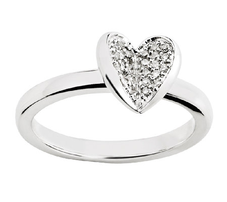 Simply Stacks Sterling Pave Diamond Heart Ring