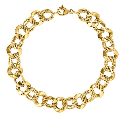 "Polished and Textured Link 8"" Bracelet, 14K Gold"