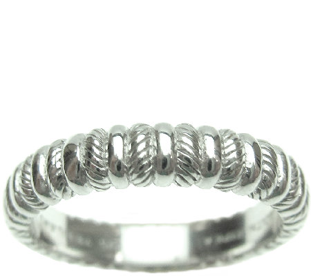 Judith Ripka Sterling Textured and Polished Thin Band Ring