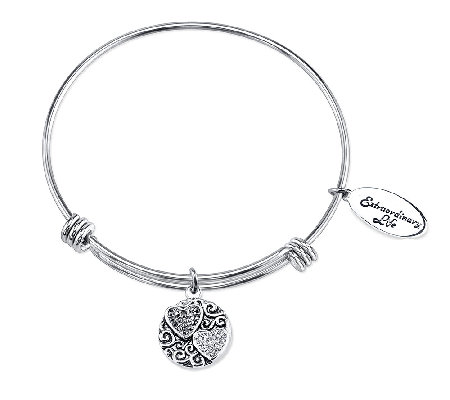 Sterling Sisters Crystal Charm Bangle by Extraordinary Life