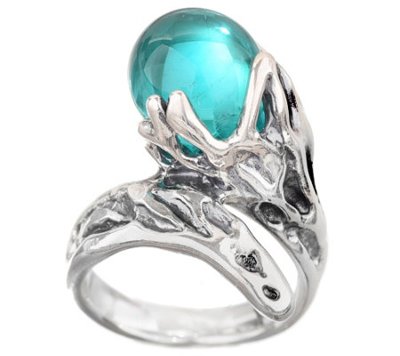Kalos by Hagit Teal Glass Bead and Sterling Wrap-Design Ring