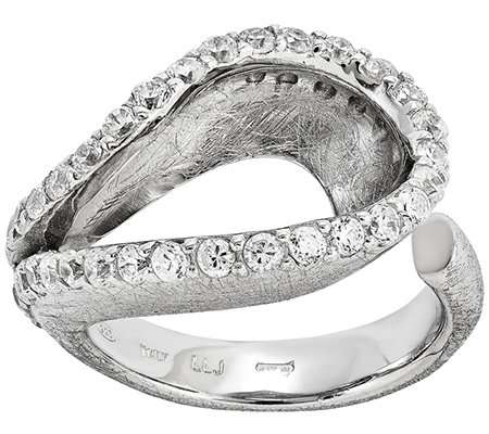 Sterling Crystal Loop Adjustable Ring