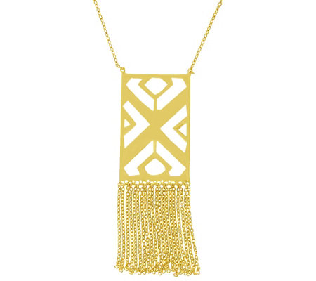 Sterling Geometric Fringe Necklace by Silver Style