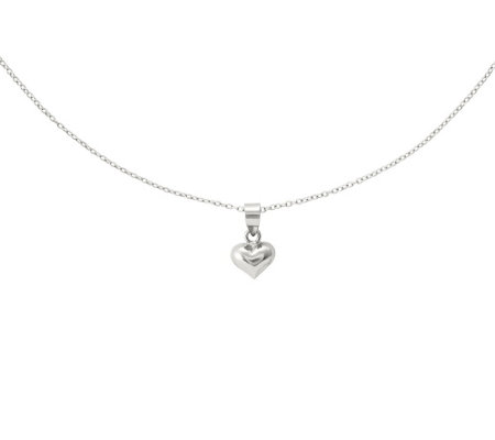 "Sterling Puffed Heart Pendant with 18"" Chain"