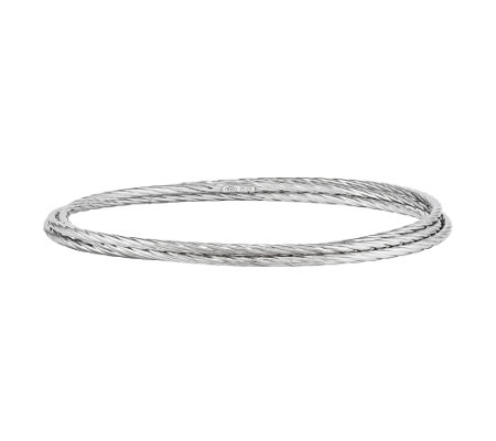 Sterling Textured Intertwined Bangles b y Silver Style