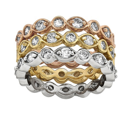 Sterling & 14K Gold-Plated Crystal Eternit y Band Trio